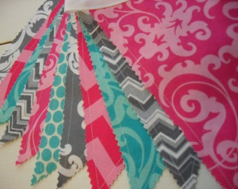 Fabric Banner, Pink, Teal and Grey Banner, Wedding, Nursery Decor, Sweet 16, Photo Prop, Pink, Grey, Teal, Gray, Ready to Ship!!