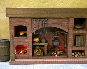DollHouse Fireplace, Colonial Dollhouse , Medieval, Miniature Fireplace, Brick Fireplace, One Inch Dollhouse, Dollhouse Accessory