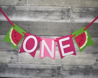 Watermelon High Chair Banner, Watermelon Banner, Watermelon Birthday Party, Watermelon First Birthday, One in a Melon Party, Melon Banner