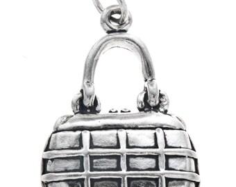 Sterling Silver Purse Charm Bracelet Pendant Necklace -Jewelry Supplies