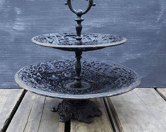 Vintage Cast Iron Two Tiered Pastry Stand, Hors D'Oeuvres Server