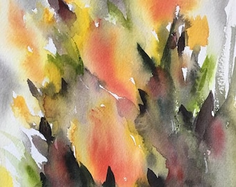 Original Watercolor Floral Impressionism