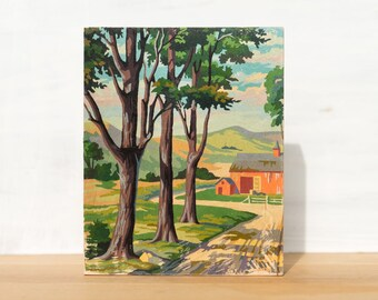 """Paint by Number 'Red Barn' 8"""" x 10"""" Large Art Block - vintage farm, pastoral, country landscape"""