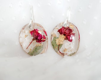 Pink Rose Gold Resin Earrings. Natural Style Earrings. Real Flowers Earrings. Organic circle earrings. Nature art crystals