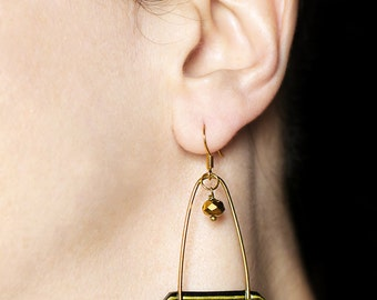 Modern jewelry Long earrings Statement earrings Black and gold earrings Contemporary jewelry Bold dangle earring Gold dangles Woman's gifts