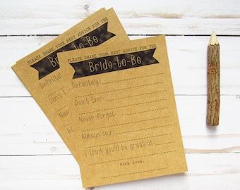 Advice for the Bride Cards - Wedding Advice Cards - Advice for the Bride to Be - Bridal Shower Advice Cards - Advice Mad Libs - Rustic Theme