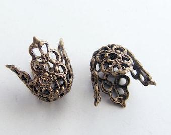 LuxeOrnaments Oxidized Brass Filigree Flower Bead Caps 11.5x13.5mm (2pcs ) U333A-VJS