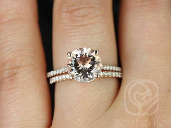 Rosados Box DIAMOND FREE Eloise 9mm 14kt Rose Gold Round Morganite and White Sapphires Cathedral Classic Wedding Set