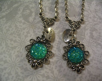 Mother and Daughter Turquoise Sparkle Cabochon Necklaces Jewelry Gift