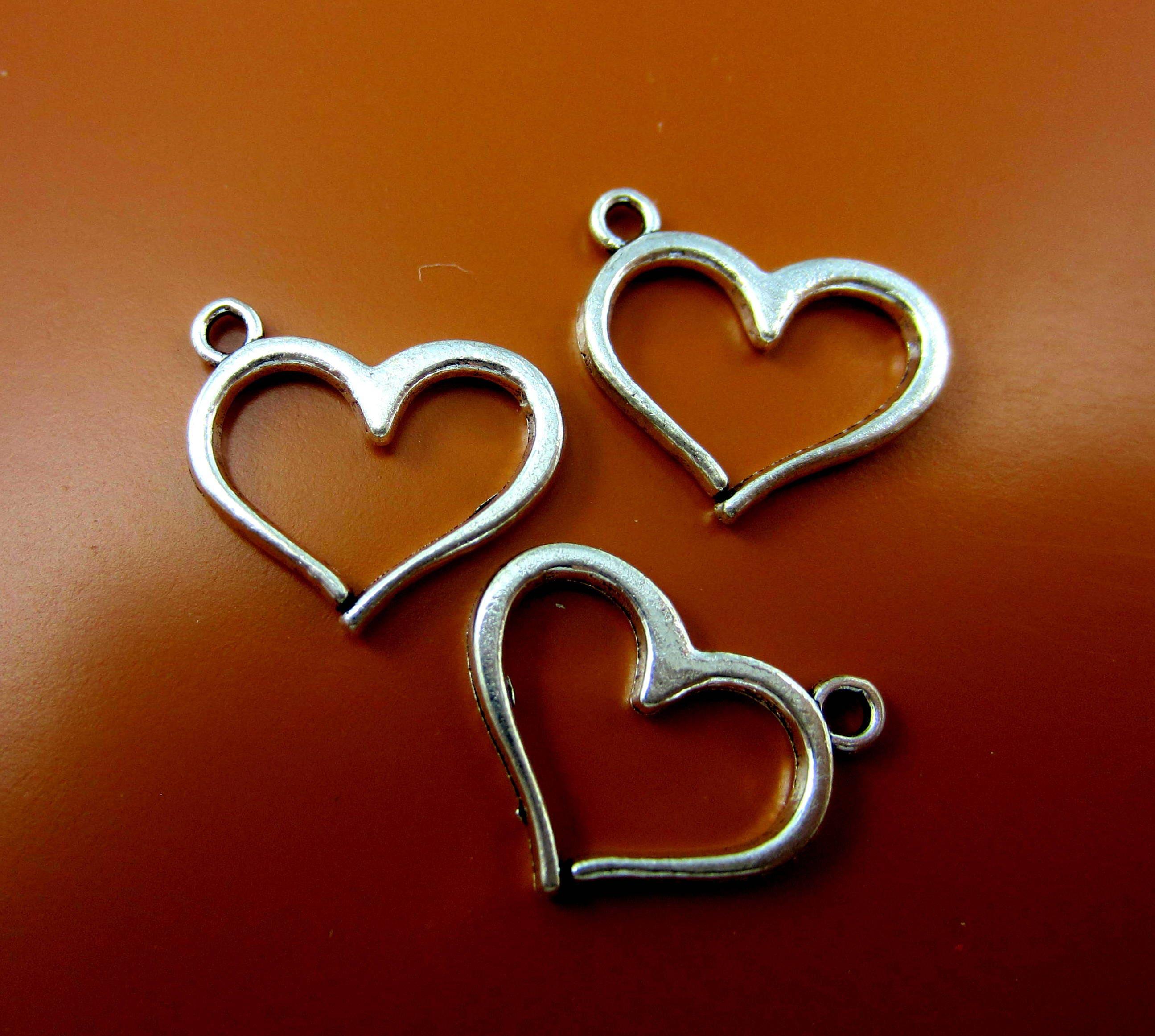 12 Heart charms antique silver metal heart pendants 16mm x