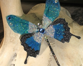 "Hairpin ""blue butterfly fairy"" fairy, fantasy, elven, fantasy."