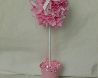 Pink Fabric Topiary Tree