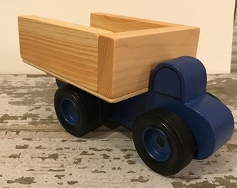 Toy Blue Dump Truck with dual rear wheels - Handcrafted Wooden Toy Dump Truck Blue - Toy Blue Dump Truck Party Center Piece - Party Favor