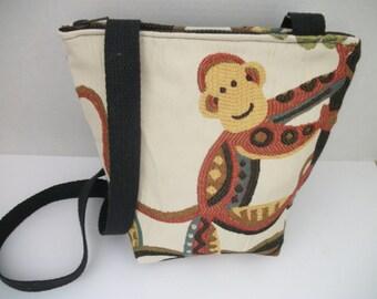 SALE ! Monkey Upholstery Fabric Bag