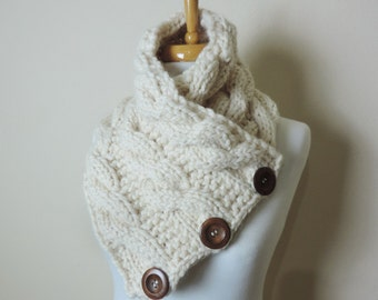 Chunky Cowl Scarf in Cream, Buttoned Cowl Scarf, Snood Neck Warmer, Knit Cowl Scarf, Womans Winter Accessories, Knitted Scarf Cowl