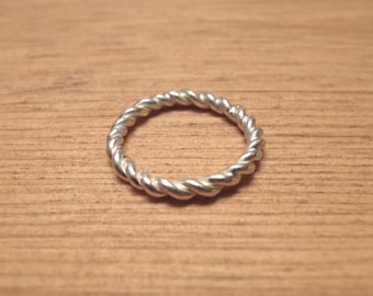 Sterling Silver Rope Ring, Stackable Silver Ring, Rope Ring, Twisted Ring, Stackable Rope Ring