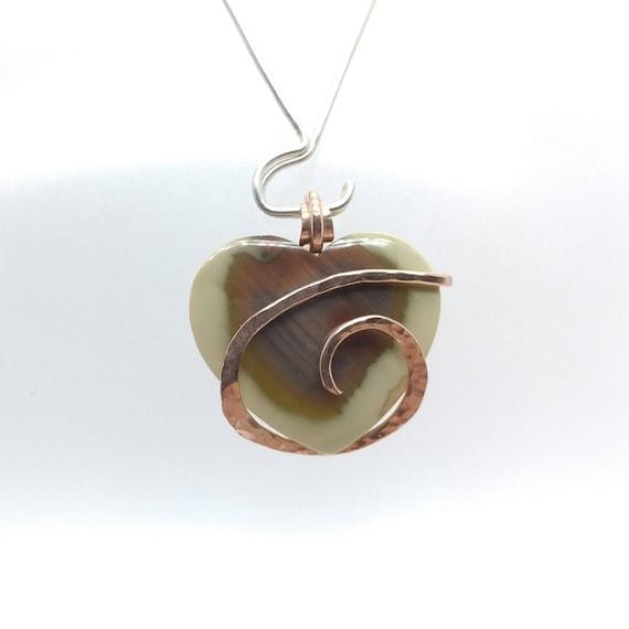 Royal Imperial Jasper Pendant | Fine Jasper Jewelry | 14kt Rose Gold Pendant Necklace |  Rare Stone Necklace | Heart Shaped Stone Pendant