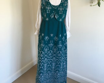 Vintage 70s Green Maxi Dress with Matching Crop Waistcoat