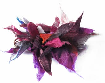 "Brooch ""Feufollay"" Violet plum purple hand painted silk"