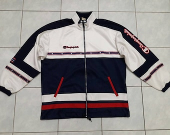 Vintage Champion Products Big Logo Spell Out Jacket Multicolor Navy Blue White Red XL size
