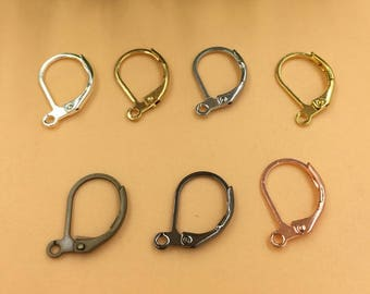 100 Brass Plain Lever-back Earwire 10x15mm Raw Brass/ Antique Bronze/ Silver/ Gold/ Rose Gold/ White Gold/ Gun-Metal Plated Earrings