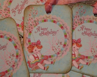 Girl Birthday Gift Tags Vintage Style