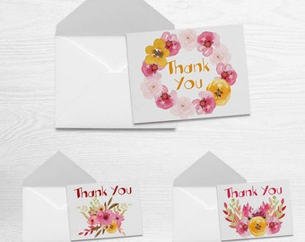 Spring - Thank You Note Card Set of 3 with Matching Envelopes (5.5 x 4.25)