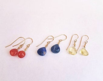 Small goldfill wire Dangly earrings with Natural Gemstones Lever Back Red Green Blue Boho Teardrop Round earrings Gift for Her