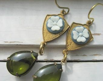 Colleen, dangle earrings, green teardrop jewel, white clover, brass ear wires, sweet dangle earrings
