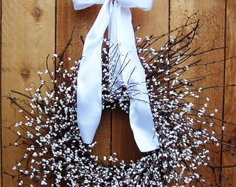 Spring Wreath-Spring Front Door Wreath-Wedding Wreath-Spring Door Wreath-Spring Door Decor-Summer Wreath-WHITE BERRY Twig Door Wreath-Wreath