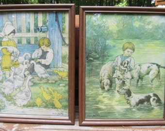 Clara M. Burd Picture/print - Two pictures of children and animals
