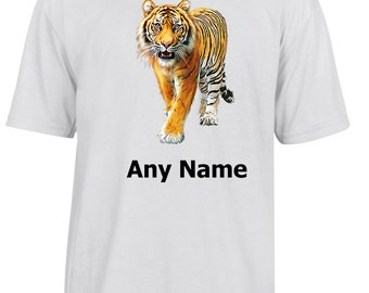 Personalised TIGER T Shirt  *Choice of name colours*