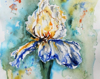 Blue Iris in Negative Cascade Green Watercolor PRINT, flower painting, floral painting, wall hanging, Iris Painting