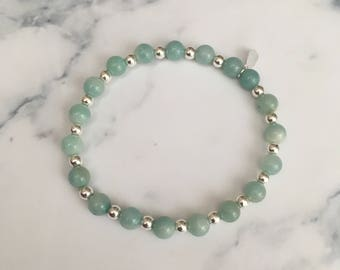 Sterling Silver and Chinese Amazonite bead stretch stack bracelet