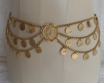 Vintage 1960s Multi Chain and Coin Belt