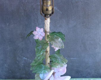 Antique Glass Table lamp Pink Green Gainsborough Glass Lamp Girls Bedroom Decor Shabby Chic Victorian Bedside Lamp Boudoir Lamp Feminine