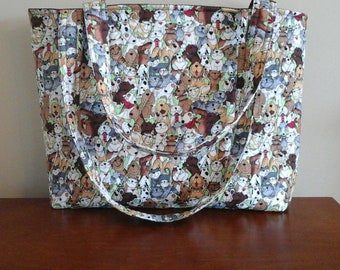Cute As Can Be Cats and Dogs Quilted Tote