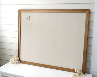 Framed Magnetic Bulletin Board - Supersized Elegant Memo Board with Handmade Wood Frame in Metallic Bronze Paint with Taupe Cotton Fabric