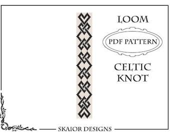 Loom Beading Pattern Celtic Knot Bracelet Seed Bead Pattern Tribal Loom Bead Pattern Knots Bead Weaving Square Stitch Loomwork Black White