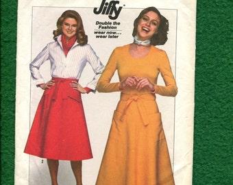 1970's Simplicity 8007 Retro Wrap Skirt  Size Small 10/12 UNCUT