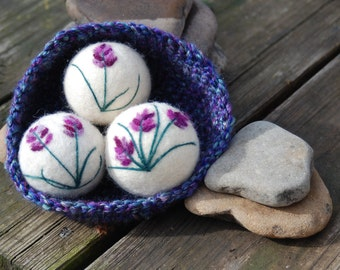 Wool Dryer Balls, Lavender Oil Infused, Sachets, Set of 3 With Crocheted Basket, Eco Friendly, Natural