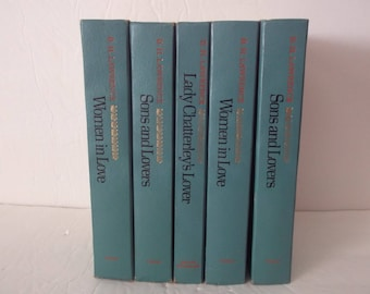 5 Vintage Decorative Books Decoration - Turquoise