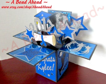 Custom made Graduation Greeting Card, Exploding Box Card, Pop Up 3D Card, College, High School, Star, Congrats, Anniversary, One of a kind