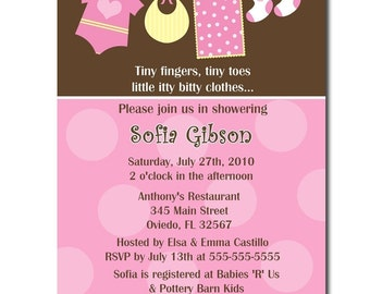 Sweet Clothesline Boy Or Girl Baby Shower Invitation (Digital File)