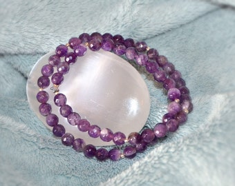 "Bracelet ""Tiffanie"" gemstone collection 'Double-towers'] - faceted - Amethyst"