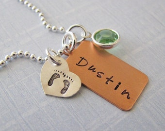mixed metal custom baby name necklace