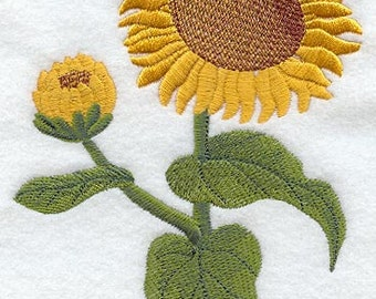 Realistic Sunflower Embroidered Flour Sack Hand/Dish Towel