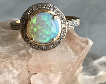 vintage opal and diamond ring | vintage opal gold ring | vintage opal diamond halo ring