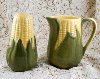 Vintage Shawnee Pottery Corn Syrup Milk Pitcher and Muffineer