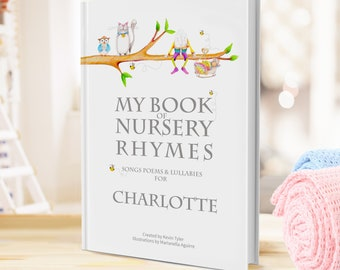 Personalised Nursery Rhyme & Poems Book for Keepsake Baby Gift.